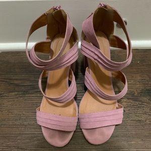 QUPID Pink/Purple Block Sandals